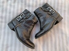Nine West Black Buckle Ankle Boots Size UK 5