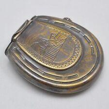 Brass horseshoe shaped vesta match case & wick holder, horse racing, antique