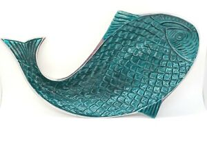 Enameled Metal Teal Fish Serving Platter Made In India EUC