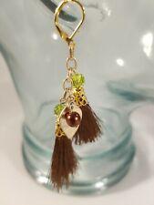 Handmade Tassel Earrings. Gold Color,  6mm Green Crystal, 8mm Brown Glass Pearl