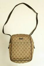 Authentic Gucci Brown Canvas leather crossbody Shoulder Bag #7093