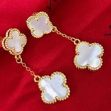 VCA Inspired Magic Alhambra Mother Of Pearl Earrings 18 K Gold Finish