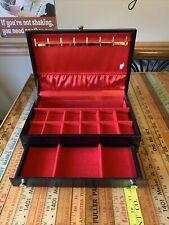 Jewelry Box ~ Mele ~ black ~ vintage COMPARTMENTS ~ Drawer ~ Dresser Box