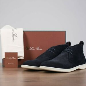 LORO PIANA 1075$ Softey Walk Ankle Boots In Navy Blue Suede