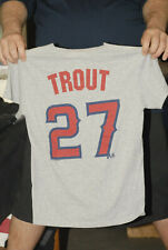MIKE TROUT LOS ANGELES ANGELS ANAHEIM T SHIRT JERSEY  SMALL GRAY RED MLB MERCH