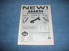 """1961 Abarth Exhaust Systems Vintage Ad """"NEW!"""" VW-1500 Renault R-8 Fiat 600D"""