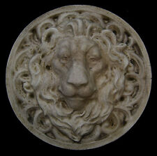 Large Roman Facing Lion wall sculpture relief plaque in Antique Color Finish