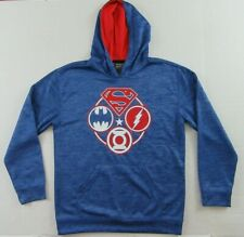 Boys Youth JUSTICE LEAGUE Superheroes Blue Pullover Hoodie Sweatshirt Sz L (16)