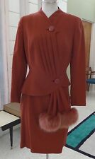 Vintage Lilli Ann One of a Kind Swanky Cocktail Suit Rust Color Early 50's SZ S