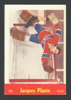 1955 PARKHURST 50 JACQUES PLANTE ~ ROOKIE CARD BEAUTIFUL ~ EM/NM FRONT BACK GLUE