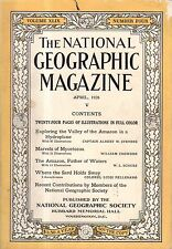 1926 National Geographic April - The Amazon by hydroplane; Sardinia in color