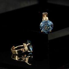 Boucles d'Oreilles Dormeuses Doré Art Deco Rond Couleur Bleu Saphir Class DD11