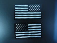 """USA FLAG SET BLACK AND REFLECTIVE solasX 3.5""""X2"""" WITH VELCRO® BRAND FASTENER"""