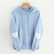 Womens Winter Autumn Heart Hoodie Sweatshirt Hooded Jumper Sweater Pullover Tops