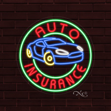 "Brand New ""Auto Insurance"" w/Logo 26x26x1 Inch Led Flex Indoor Sign 31309"