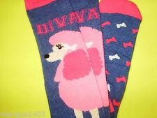 LADIES KNEE HIGH QUALITY THERMAL SKI HIKING WELLY BOOT SOCKS PINK POODLE DIVA