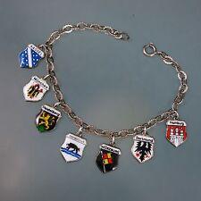 "GERMANY Vintage 800 & 835 Silver Travel Shield Tag Charm Bracelet 7"" long"