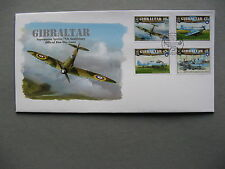 GIBRALTAR, cover FDC 2011,  set Spitfire 75th ann. RAF aircraft