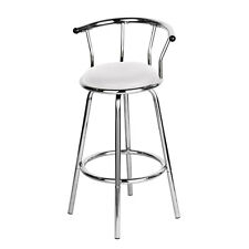 Padded White Seat Chair Breakfast Revolving Bar Stool New Chrome Kitchen