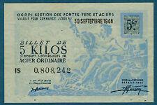 FRANCE - 5 KILOS ACIER ORDINAIRE. du 30-9-1948. en NEUF   IS 0,808,242
