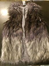 Forever Ombre Faux Mongolian Fur Vest Gray Black Large