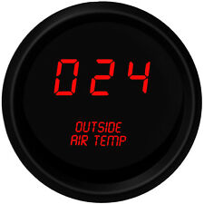 Digital OUTSIDE AIR TEMPERATURE GAUGE W/ Sender RED LEDs BLACK BEZEL Warranty!