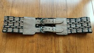 NWT MIMCO Genuine Leather Waist Belt Double Buckle Woven Taupe - Size S