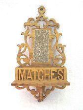 Antique Hand Carved Filigree Match Box Holder w Striker Wall Hanger NICE! SHP
