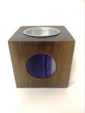 More details for wooden amethyst candle holder home decoration t-light holder cone incense burner