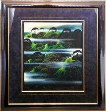 "Eyvind Earle ""Early Morning Fog"" with black custom frame Hand Signed BEAUTIFUL!"