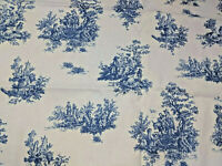 White Blue French Country Toile Classic Upholstery Drape Craft Fabric Remnant