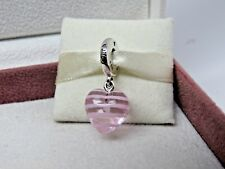 New w/Box Pandora Pink Ribbon Heart Dangle Glass Murano Charm 797069 Spring 2018