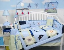 BLUE CRIB BEDDING SAILBOAT & LIGHTHOUSE ANCHOR Infant Baby Nursery 13 Pieces NEW
