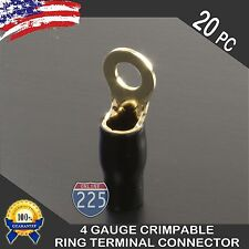 """20x 4 Gauge Gold Ring Terminals AWG Wire Crimp Cable Black Boots- 5/16"""" Stud US"""