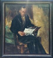 JEF DE PAUW (1894-1947) : THE READING MAN - SIGNED AND DATE - LISTED ARTIST
