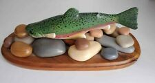Artist Carved Painted Turned Wood Primitive Cabin Cottage Rainbow Trout Decoy