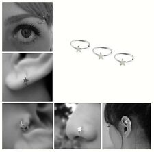 Silver Star Nose Ear Ring Cartilage Tragus Septum Lip Eyebrow Hoop Stud Ear Cuff