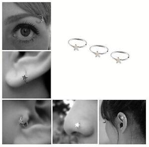 Silver Star Nose Ear Ring Cartilage Tragus Septum Lip Eyebrow Hoop Stud Ear Cuff