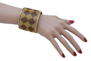 Women Wide Cuff Bracelet Fashion Gold Metal Brown Square Shape Geometric Urban