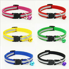 Pet Dog Puppy Cat Glossy Reflective Collar Safety Buckle Bell Adjustable sale