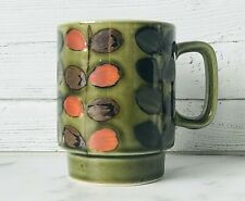Vintage Hand Painted Green Floral Stackable Stoneware Coffee Tea Mug ~ Euc