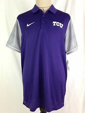 Nike TCU Horned Frogs Mens Polo Shirt XL Sz Golf Purple Gray Big 12 Football NWT