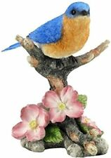 Us 4.88 Inch Bluebird on Branch with Flowers Decorative Figurine, Blue