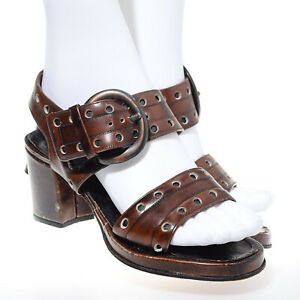 Vtg 60s 70s Chunky Wood Platform Heels Hippie Boho Strappy Sandals Shoes US 5.5