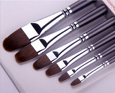 Filbert Paint Brush 6pcs Pue Red Sable Polished Handle Art Artist Paint Brushes