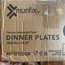 100 Piece Plastic Party Plates White Gold Rim Premium Heavy Duty 10.25 Inch D...