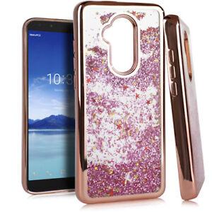For Alcatel 7 Folio - Rose Gold Chrome Glitter Protector Liquid Skin Case Cover