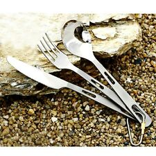 Set of 3pcs Titanium Cutlery Camping Hiking Knife Fork Spoon Ultralight Outdoor