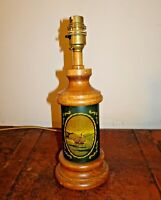 Vintage Turned Oak Table Lamp with Ship Decal (Nautical Sea Dark Green Column)
