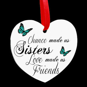 Beautiful Heart Shaped Metal Hanging Plaque Sister Sisters Family Friends Gift